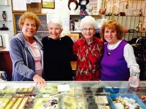 Volunteers L-R: Felice Golden, Doris Levin, Roz Bloom and Thrift Shop VP Fran Migdal