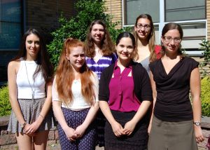 L-R: NCJW scholarship winners Justine Laufer, Lauren Gerlin, Leah Field, Inbar Tivon, Mikaela Rosen and Rachel Gleyzer. Not pictured: Danielle Mandelblatt.